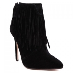 Elegant Black and Tassels Design Women's Ankle Boots