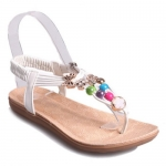 Cute Flat Heel and Metallic Design Women's Sandals