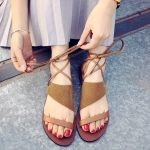 Vintage Lace-Up and Suede Design Sandals For Women