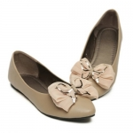 Casual Stylish PU Leather Bowknot and Lace Design Women's Spring Flat Shoes
