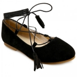 Stylish Round Toe and Tassels Design Flat Shoes For Women