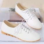 Casual Round Toe and Tie Up Design Flat Shoes For Women