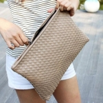 Fashion Zip and Weaving Design Clutch Bag For Women