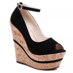 Stylish Peep Toe and Ankle Strap Design Wedge Shoes For Women