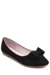 Elegant Bow and Flock Design Flat Shoes For Women