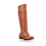 Trendy Solid Color and Zipper Design Women's Knee-High Boots