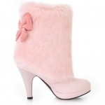 Trendy Fur and Bow Design Women's Short Boots