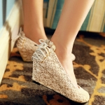 Sweet Lace-Up and Lace Design Wedge Shoes For Women