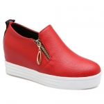 Leisure Zipper and Letter Design Wedge Shoes For Women