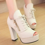 Fashion Tie Up and Zipper Design Peep Toe Shoes For Women