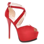 Trendy Stiletto Heel and Cross Straps Design Peep Toe Shoes For Women