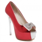 Sweet PU Leather and Bowknot Design Peep Toe Shoes For Women