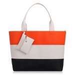 Trendy PU Leather and Colour Block Design Women's Shoulder Bag