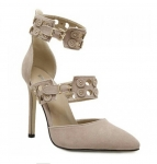 Elegant Ankle Strap and Suede Design Pumps For Women
